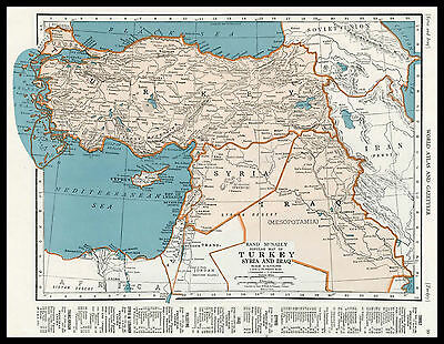 TURKEY SYRIA IRAQ Europe Middle East 1945 antique color lithograph Map
