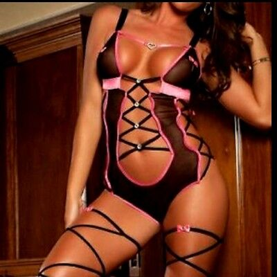Black & Pink Teddy with Leg Wraps Lingerie Design In Sizes 8-10