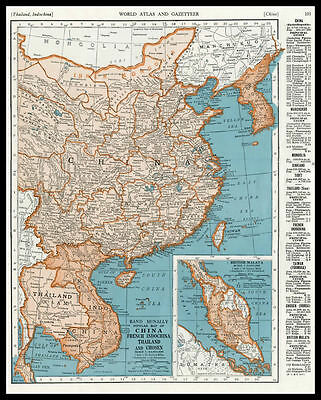 CHINA FRENCH INDOCHINA THAILAND Asia 1945 antique color lithograph Map