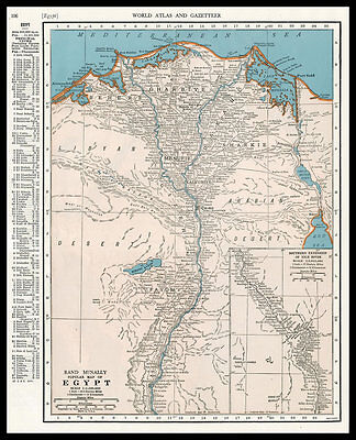 EGYPT Nile River Cairo Africa 1945 antique color lithograph Map