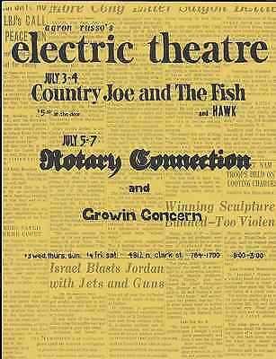 Country Joe & Fish  Fillmore Era  Electric Theater  Chicago Handbill Flyer 1968