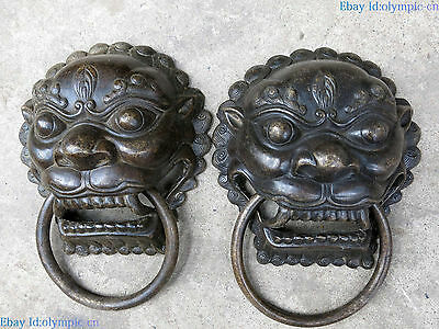 Fine Bronze sculpture China copper Feng Shui luck tiger knocker pair Statue