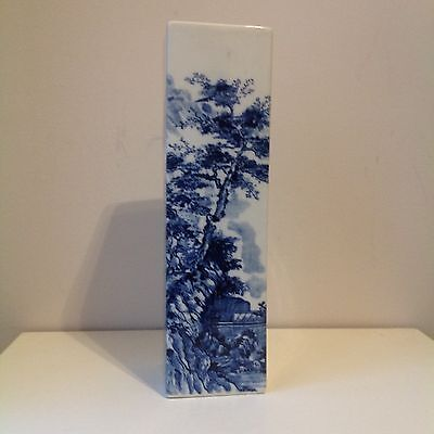 """Vintage Signed Japanese or Chinese Blue & White Tall Vase Man In Boat 11.75"""""""