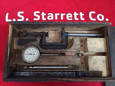Starrett No. 196 Dial Indicator + Accesories & Sawtooth Case