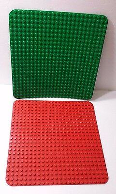 2 Large Duplo Base Plates Red and Green 15 X 15 inches Building Block Child Toy