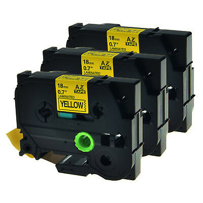 """3 PK TZ TZe-641 Black on Yellow Label Tape 3/4"""" For Brother P-touch PT-1950 P700"""