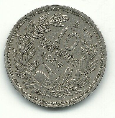 A Better Grade 1937 S Chile 10 Centavos Coin-Defiant Condor On Rock-Jan228