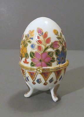 "Three Footed ""Floral Egg"" Porcelain Hinged Trinket Box with Gold Trim"