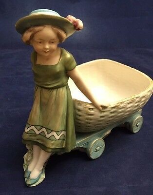 Stunning Vintage ROYAL DUX Girl with a Cart Figurine  2416