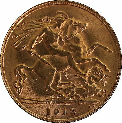 1913 Gold Half Sovereign George V London mint EF