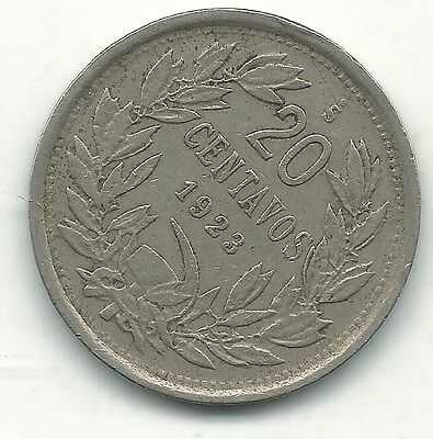 A Fine/very Fine 1923 S Chile 20 Centavos Coin-Defiant Condor On Rock-Jan237