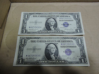 1935 E SILVER CERTIFICATE ERROR NOTE MISALIGNED consecutive lot of 2