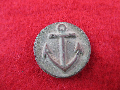 Dug Civil War Navy Anchor Coat Button Pewter Back 23Mm  Inv24
