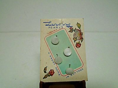 "Vintage Pearl Sewing Buttons Lansing 3/8"" Shank New Old Stock On Card"