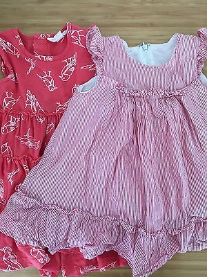 2 X Size 0 Baby Girls Red And White Dresses - Cotton On & Pumpkin Patch