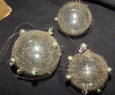 antique Christmas ornaments, Kringle WIRE WRAPPED tinsel balls lot of 3 silver