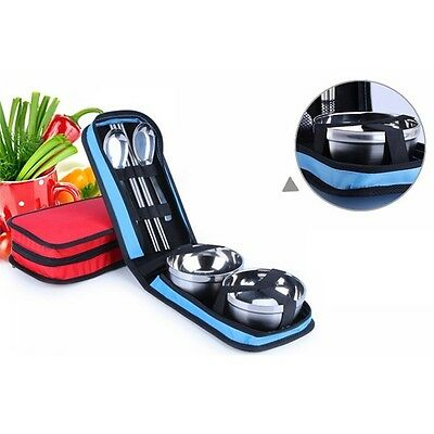 Portable Stainless Steel Spoon/Fork/Bowl Pocket For Outdoor Travel Tableware Set