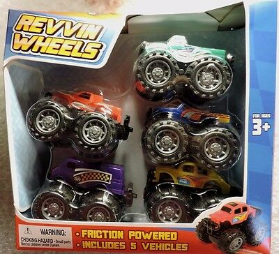 (Set of 5) Push and Go Friction Powered Toys Car, Van, Trucks NEW