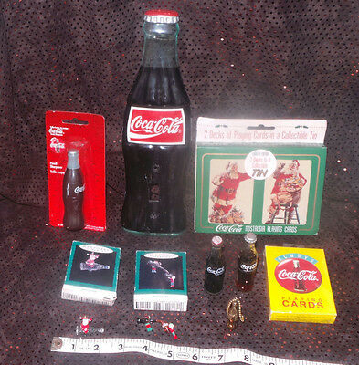 Coca-Cola collectibles lot: 8 different items: cards, miniatures, ornaments more