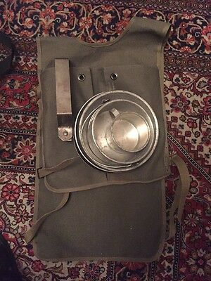 Vintage Boy Scout of America Official Camping 5pc Mess Kit & Canvas Bag