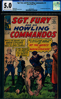 Sgt. Fury and His Howling Commandos 5 CGC 5.0 - OW/W Pages - 1st Baron Strucker