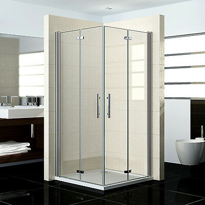 Shower Enclosure Frameless Corner Entry Bifold Pivot Door Glass Cubicle Screen