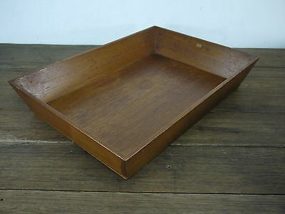 Lot x3 c.1920's Antique Teak Office Desk In / Out Trays Industrial Retro