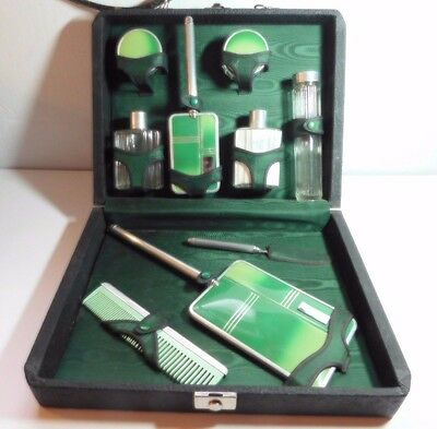 Art Deco Men's Travel Vanity Grooming Kit Vanity Set Glass Bottles Vintage Case