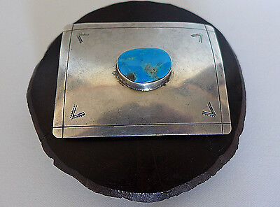 Vintage Silver Navajo Native American Belt Buckle Large Turquoise Center Stone