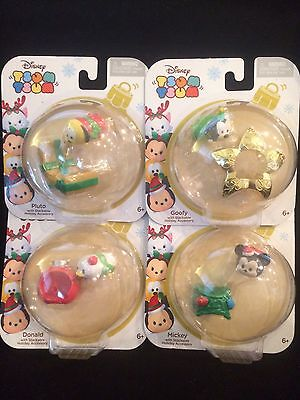Disney Tsum Tsum with Stackable Holiday Accessory Lot Of 4 Christmas Figure