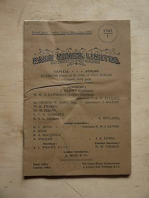 Vintage 1941 'RAND MINES Ltd' 15pp Quarterly Report South Africa Gold Mines