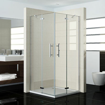 Pivot Frameless Corner Entry Shower Enclosure Cubicle Glass Hinge Door Screen