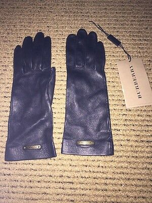 New Burberry Black Leather Gloves, Women Size 6 1/2