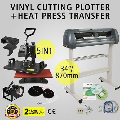 "5in1 Heat Press Transfer Kit 34"" Vinyl Cutting Plotter 3 Blades Cutter Sticker"