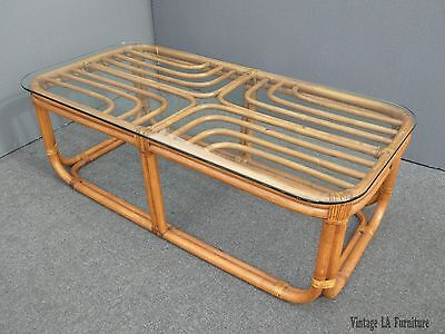 Vintage Mid Century Modern Bamboo Rattan Glass Top COFFEE TABLE w Leather Binds