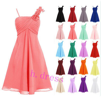 New Short Chiffon Flower Bridesmaid Formal Ball Gown Party Evening Prom Dresses