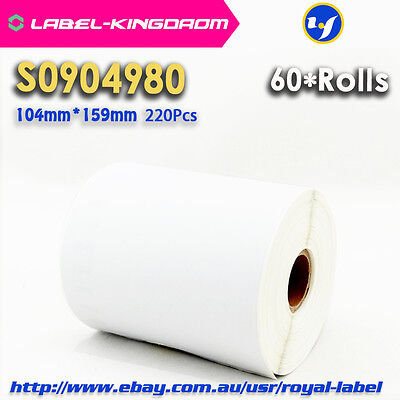 60 Rolls Dymo S0904980/1744907 Compatible Labels for 4XL 104X159mm 220Pcs/Roll