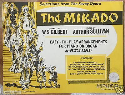 VINTAGE MUSIC BOOK GILBERT & SULLIVAN THE MIKADO Easy to Play for Piano or Organ