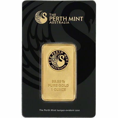 Perth Mint 1 Oz .9999 Fine Gold Bar New Sealed With Assay Certificate