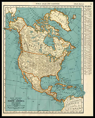 NORTH AMERICA United States Canada 1937 antique color lithograph Map