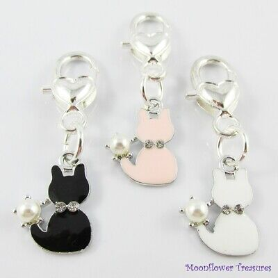 Enamel Cat Clip on Charm for Bag Keychain or Zipper Pull Select Black Pink White