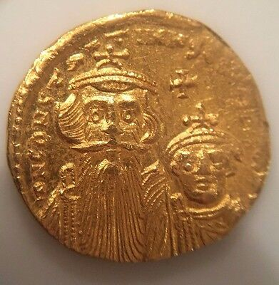 Gold Byzantine Solidus Constans II and Constantine IV Facing Busts / Cross