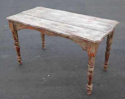 Farmhouse Chic Rustic Crackle Distressed Carved WRITING DESK Spanish Style