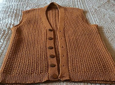 Men's Hand Knitted Sleeveless Button Through, Pure Wool 8ply, Brown/ Mustard