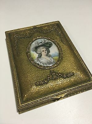 ANTIQUE FRENCH BRONZE DRESSER JEWEL BOX with  SUPERB MINIATURE PORTRAIT