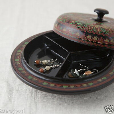 Burmese lacquerware (now Myanmar) Divided Bowl, Hand Painted Box, Lacquer Tray