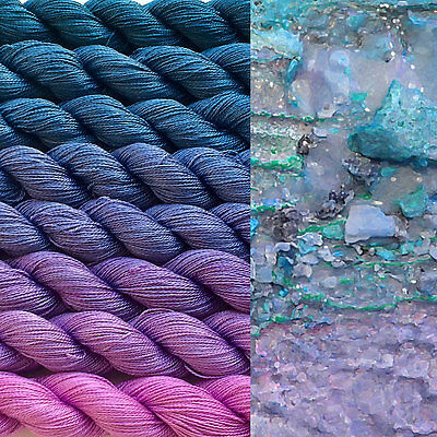 Gradient yarn set -mulberry silk, handdyed yarn lace, 2ply 200g-hand painted