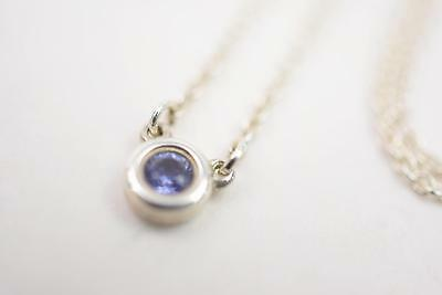 Authentic Tiffany & Co. Pendant Necklace By The Yard Silver 925 Tanzanite 129797