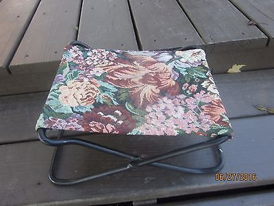 Antique Victorian Cast Iron Folding Buggy Seat Footstool TAPESTRY FLORAL TOP