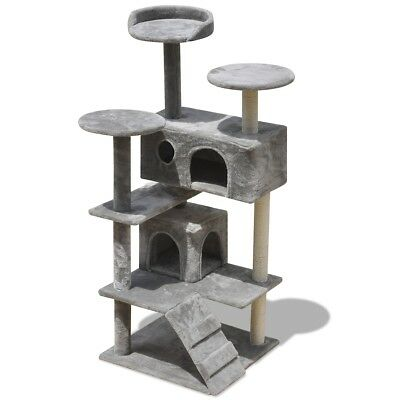 Cat Tree Scratching Post Scratcher Pole 2 Houses Pet Gym Condo Toy 130cm Grey